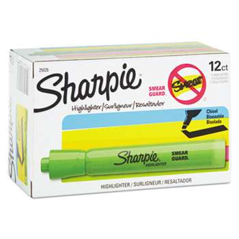 SANFORD Accent Tank Style Highlighter, Chisel Tip, Fluorescent Green, Dozen