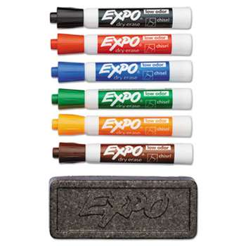 SANFORD Dry Erase Marker & Organizer Kit, Chisel Tip, Assorted, 6/Set