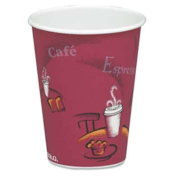 SOLO CUPS Bistro Design Hot Drink Cups, Paper, 8oz, Maroon, 50/Pack