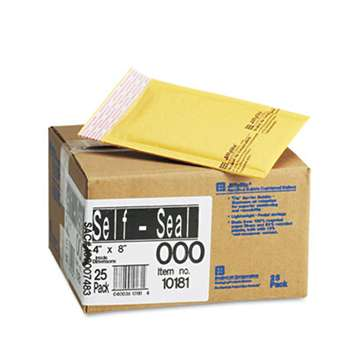 ANLE PAPER/SEALED AIR CORP. Jiffylite Self-Seal Mailer, Side Seam, #000, 4 x 8, Golden Brown, 25/Carton