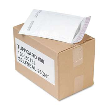ANLE PAPER/SEALED AIR CORP. Jiffy TuffGard Self-Seal Cushioned Mailer, Side Seam, #00, 5x10, WE, 25/Carton