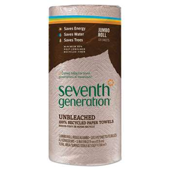 Seventh Generation 13720RL Natural Unbleached 100% Recycled Paper Towel Rolls, 11 x 9, 120 Sheets/Roll