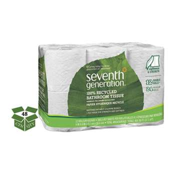 SEVENTH GENERATION 100% Recycled Bathroom Tissue, 2-Ply, White, 300 Sheets/Roll, 48/Carton