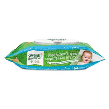 SEVENTH GENERATION Free & Clear Baby Wipes, Unscented, White, 64/Pack