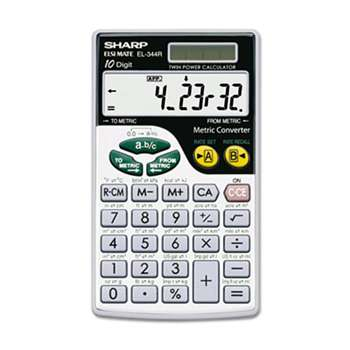 SHARP ELECTRONICS EL344RB Metric Conversion Wallet Calculator, 10-Digit LCD