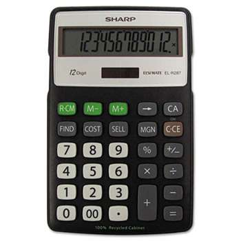 SHARP ELECTRONICS EL-R287BBK Recycled Series Calculator w/Kickstand, 12-Digit LCD