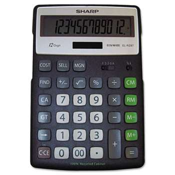 SHARP ELECTRONICS EL-R297BBK Recycled Series Calculator w/Kickstand, 12-Digit LCD