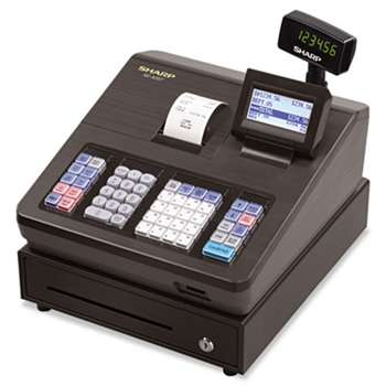 SHARP ELECTRONICS XE Series Electronic Cash Register, Thermal Printer, 2500 Lookup, 25 Clerks, LCD
