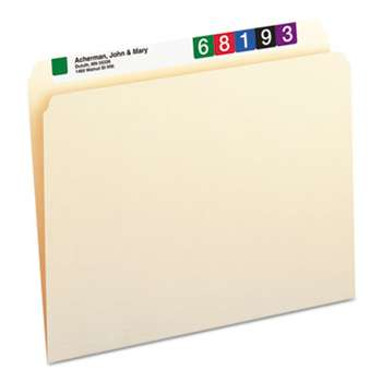 SMEAD MANUFACTURING CO. File Folders, Straight Cut, One-Ply Top Tab, Letter, Manila, 100/Box