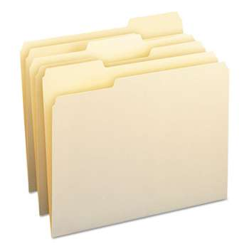 SMEAD MANUFACTURING CO. File Folders, 1/3 Cut Assorted, One-Ply Top Tab, Letter, Manila, 100/Box