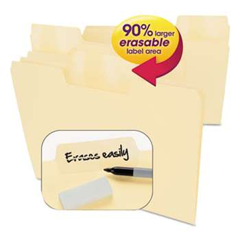SMEAD MANUFACTURING CO. Erasable SuperTab File Folders, Letter, Manila, 24/Set