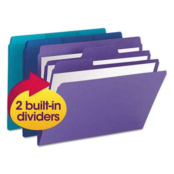 SMEAD MANUFACTURING CO. SuperTab Organizer Folder, 1/3 Cut Top Tab, Assorted, 3/Pack