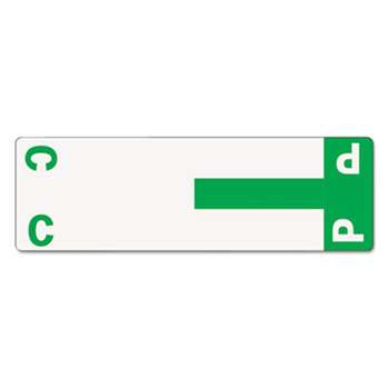 SMEAD MANUFACTURING CO. Alpha-Z Color-Coded First Letter Name Labels, C & P, Dark Green, 100/Pack