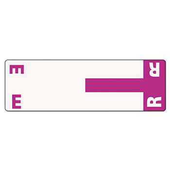 SMEAD MANUFACTURING CO. Alpha-Z Color-Coded First Letter Name Labels, E & R, Purple, 100/Pack