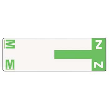 SMEAD MANUFACTURING CO. Alpha-Z Color-Coded First Letter Name Labels, M & Z, Light Green, 100/Pack