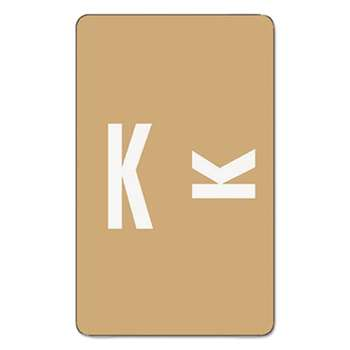 SMEAD MANUFACTURING CO. Alpha-Z Color-Coded Second Letter Labels, Letter K, Light Brown, 100/Pack