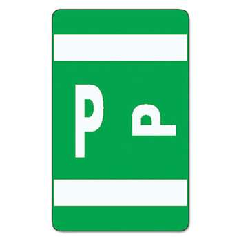 SMEAD MANUFACTURING CO. Alpha-Z Color-Coded Second Letter Labels, Letter P, Dark Green, 100/Pack