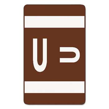 SMEAD MANUFACTURING CO. Alpha-Z Color-Coded Second Letter Labels, Letter U, Dark Brown, 100/Pack