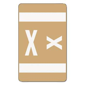 SMEAD MANUFACTURING CO. Alpha-Z Color-Coded Second Letter Labels, Letter X, Light Brown, 100/Pack