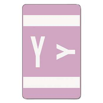 SMEAD MANUFACTURING CO. Alpha-Z Color-Coded Second Letter Labels, Letter Y, Lavender, 100/Pack