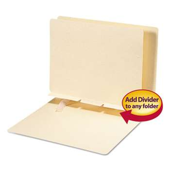 SMEAD MANUFACTURING CO. Manila Self-Adhesive Folder Dividers w/Prepunched Slits, 2-Sect, Letter, 100/Box