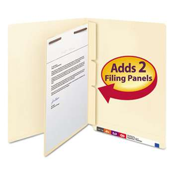 SMEAD MANUFACTURING CO. Manila Self-Adhesive End/Top Tab Folder Dividers, 2-Sections, Letter, 100/Box