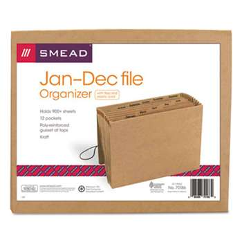 SMEAD MANUFACTURING CO. Jan-Dec Indexed Expanding Files, 12 Pockets, Letter, Kraft