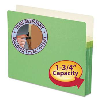 "SMEAD MANUFACTURING CO. 1 3/4"" Exp Colored File Pocket, Straight Tab, Letter, Green"