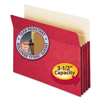 "SMEAD MANUFACTURING CO. 3 1/2"" Exp Colored File Pocket, Straight Tab, Letter, Red"