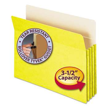 "SMEAD MANUFACTURING CO. 3 1/2"" Exp Colored File Pocket, Straight Tab, Letter, Yellow"