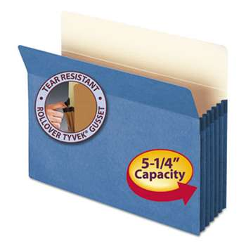 "SMEAD MANUFACTURING CO. 5 1/4"" Exp Colored File Pocket, Straight Tab, Letter, Blue"