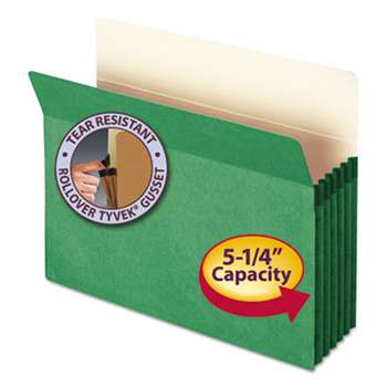"SMEAD MANUFACTURING CO. 5 1/4"" Exp Colored File Pocket, Straight Tab, Letter, Green"