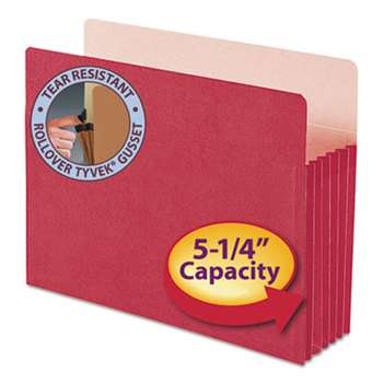 "SMEAD MANUFACTURING CO. 5 1/4"" Exp Colored File Pocket, Straight Tab, Letter, Red"