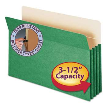 "SMEAD MANUFACTURING CO. 3 1/2"" Exp Colored File Pocket, Straight Tab, Legal, Green"