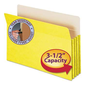 "SMEAD MANUFACTURING CO. 3 1/2"" Exp Colored File Pocket, Straight Tab, Legal, Yellow"