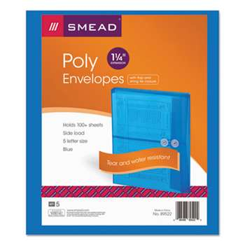 SMEAD MANUFACTURING CO. Poly String & Button Booklet Envelope, 9 3/4 x 11 5/8 x 1 1/4, Blue, 5/Pack