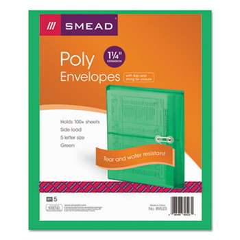 SMEAD MANUFACTURING CO. Poly String & Button Booklet Envelope, 9 3/4 x 11 5/8 x 1 1/4, Green, 5/Pack