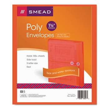 SMEAD MANUFACTURING CO. Poly String & Button Booklet Envelope, 9 3/4 x 11 5/8 x 1 1/4, Red, 5/Pack