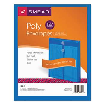 SMEAD MANUFACTURING CO. Poly String & Button Envelope, 9 3/4 x 11 5/8 x 1 1/4, Blue, 5/Pack
