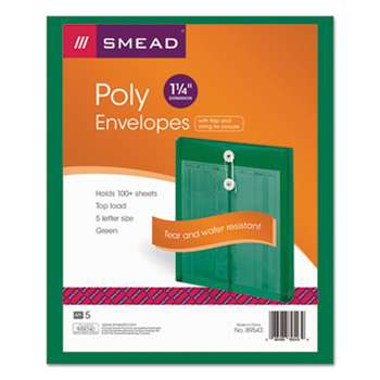 SMEAD MANUFACTURING CO. Poly String & Button Envelope, 9 3/4 x 11 5/8 x 1 1/4, Green, 5/Pack