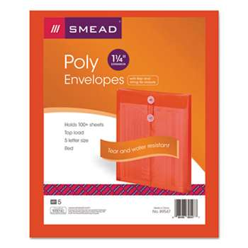 SMEAD MANUFACTURING CO. Poly String & Button Envelope, 9 3/4 x 11 5/8 x 1 1/4, Red, 5/Pack