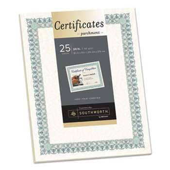 SOUTHWORTH CO. Parchment Certificates, Ivory w/Green & Blue Border, 8 1/2 x 11, 25/Pack