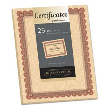 SOUTHWORTH CO. Parchment Certificates, Copper w/Red & Brown Border, 8 1/2 x 11, 25/Pack