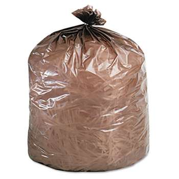 STOUT Eco-Degradable Plastic Trash Garbage Bag, 39gal, 1.1mil, 33 x 44, Brown, 40/Box