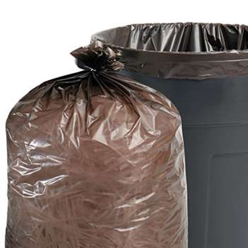 STOUT 100% Recycled Plastic Garbage Bags, 33gal, 1.5mil, 33 x 40, Brown/Black, 100/CT