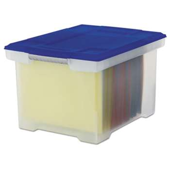 STOREX Plastic File Tote Storage Box, Letter/Legal, Snap-On Lid, Clear/Blue