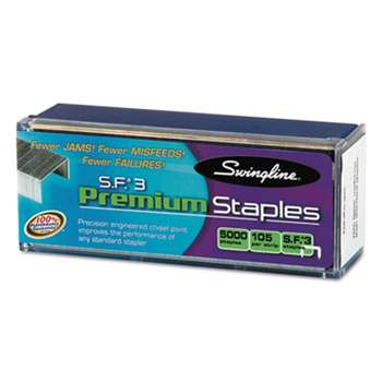 ACCO BRANDS, INC. S.F. 3 Premium Chisel Point 105 Count Half-Strip Staples, 5000/Box