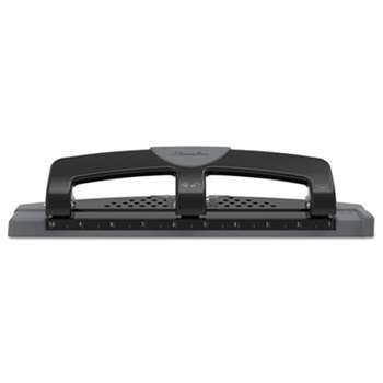 "Swingline 74134 12-Sheet SmartTouch Three-Hole Punch, 9/32"" Holes, Black/Gray"
