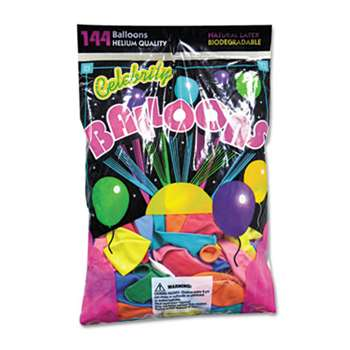 TABLEMATE PRODUCTS, CO. Helium Quality Latex Balloons, 12 Assorted Colors, 144/Pack