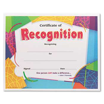 TREND ENTERPRISES, INC. Certificate of Recognition Awards, 8-1/2 x 11, 30/Pack